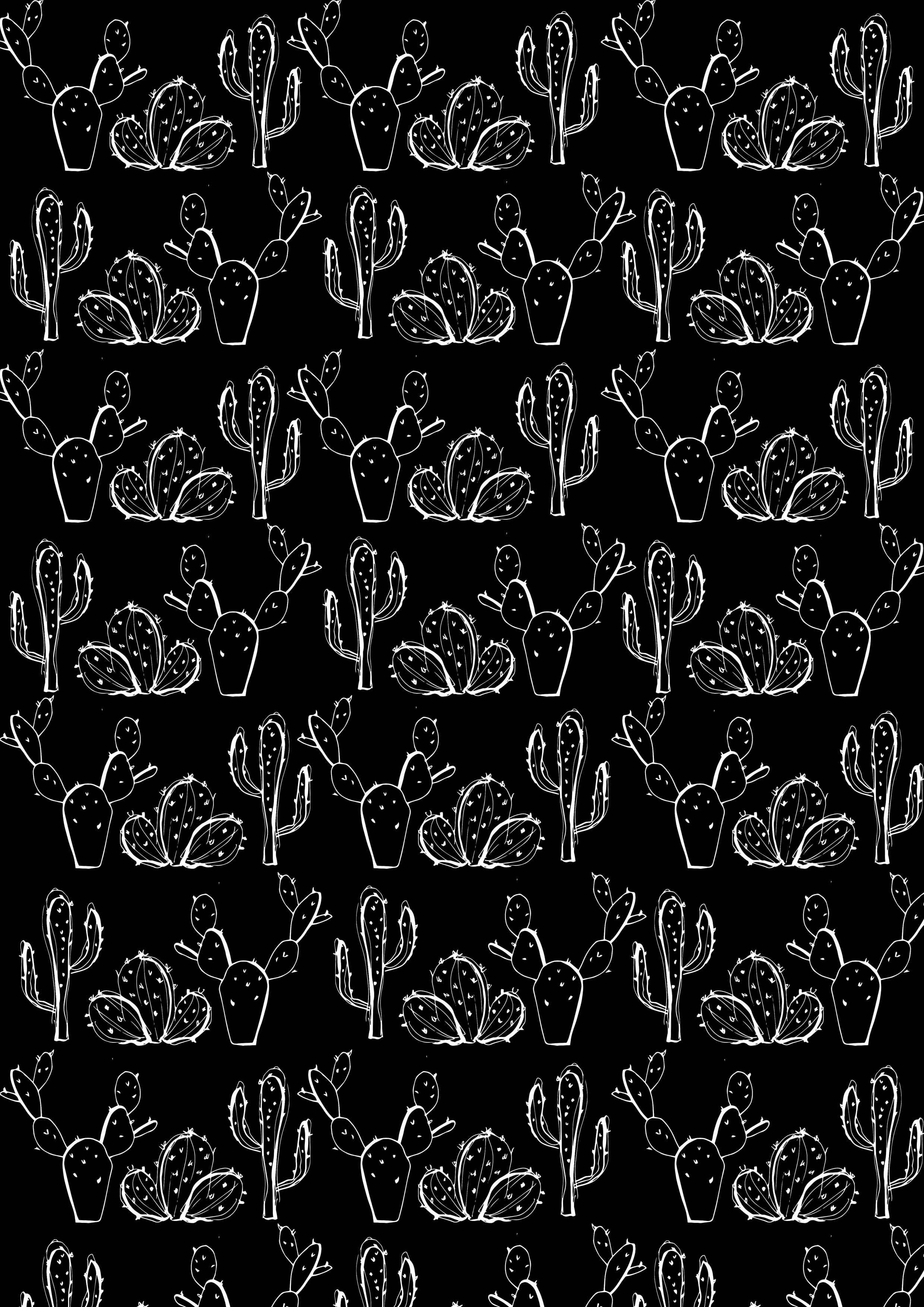 black cactus print