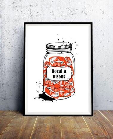 Affiche-illustration-bocal-a-bisous