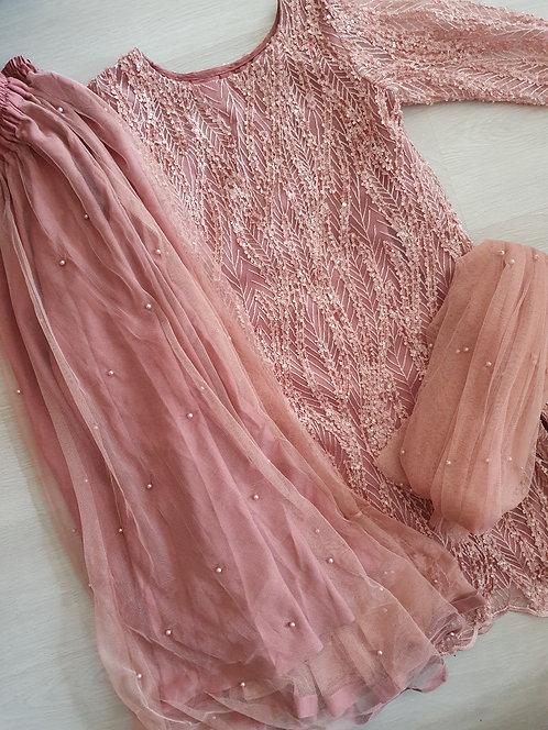 Cutdana 3- piece net skirt dusky pink