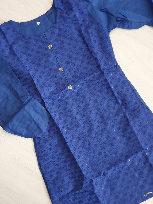 Embroidered blue kurta with sequins