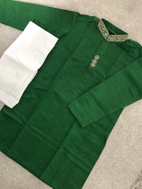 Boys kurta and bottoms - emerald green