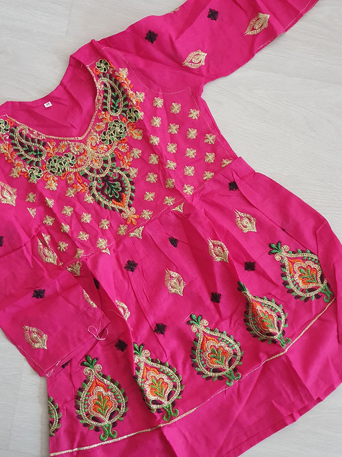 Pink embroidered frock