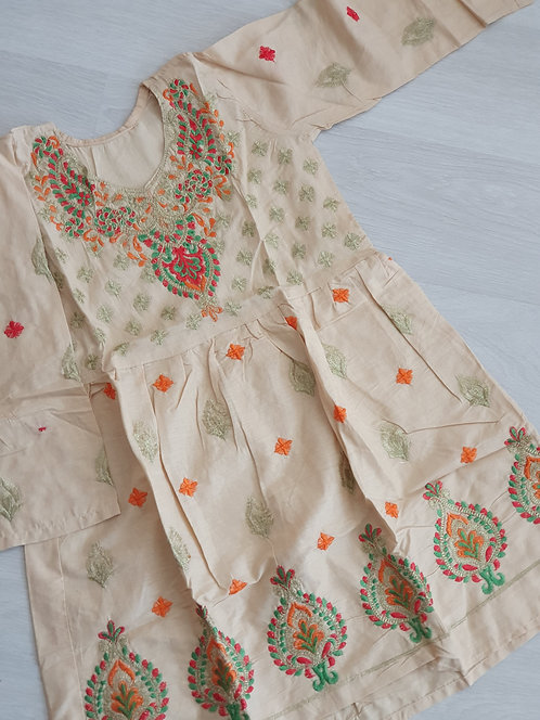 Cream embroidered frock