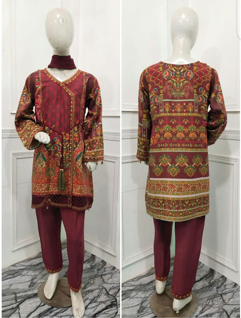 3 piece red mona by allys suit