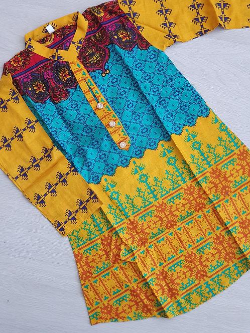 Yellow/blue lawn kurta