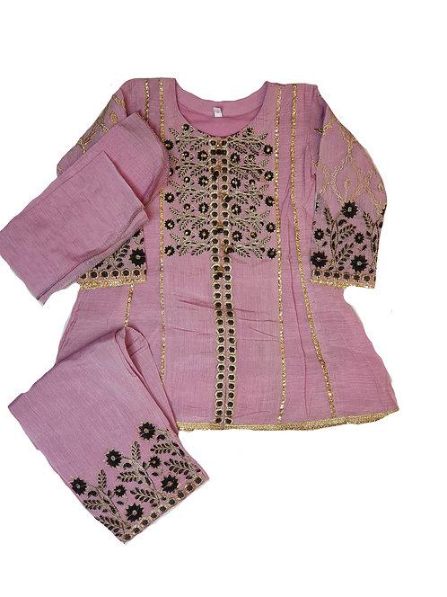 dusky pink paper cotton 3-piece
