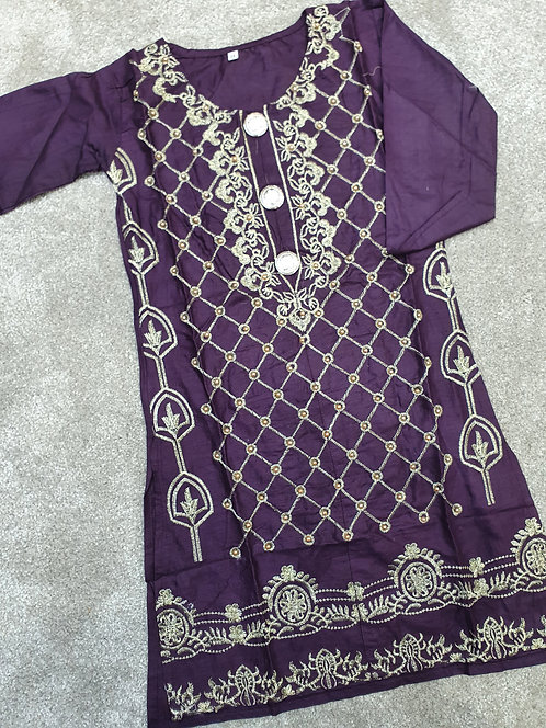 Beaded and embroidered purple kurta