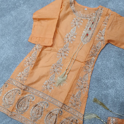 Embroidered kurta peachy orange