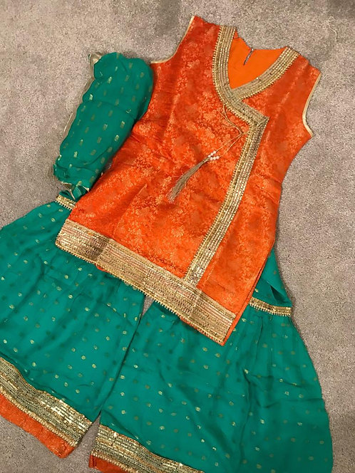 Orange and green lengha 3-piece ( size 36)