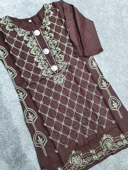 Embroidered and beaded brown kurta