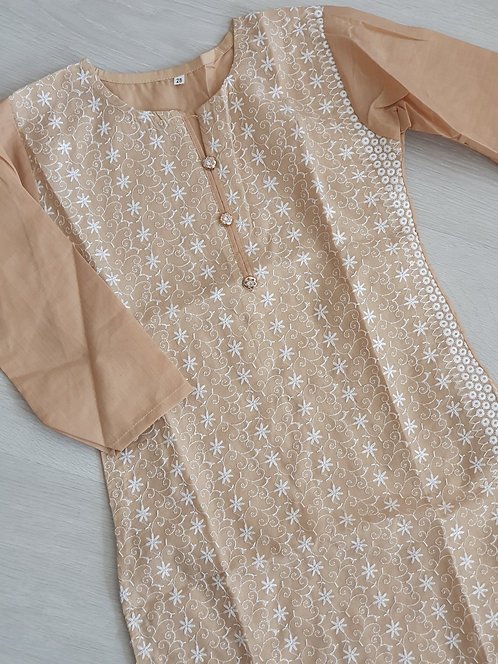 Beige and white embroidered kurta