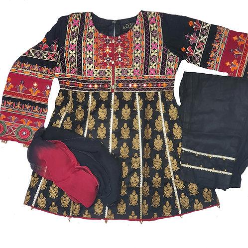 Black/gold/red block Mona's 3-piece