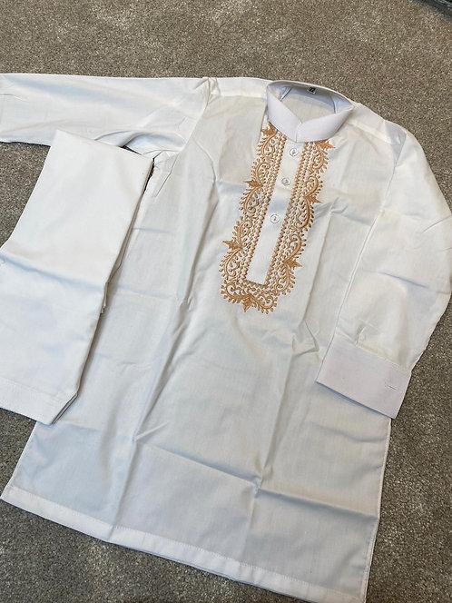 Boys white/beige embroidered shalwar kameez
