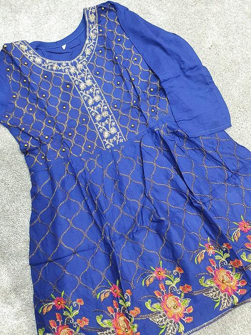 Embroidered and beaded dark blue kurta