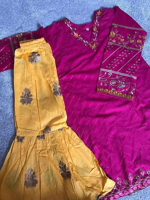 2-piece embroidered cotton gharara (size 26)