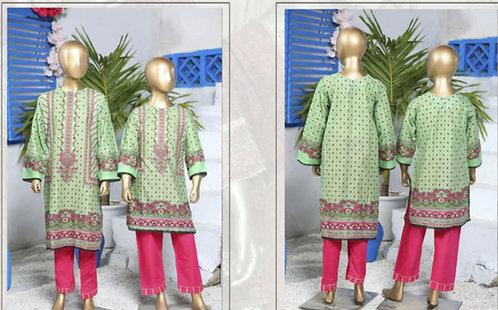Suntex light green lawn mother-daughter kurta