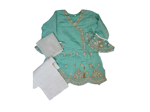embroidered light green 3-piece