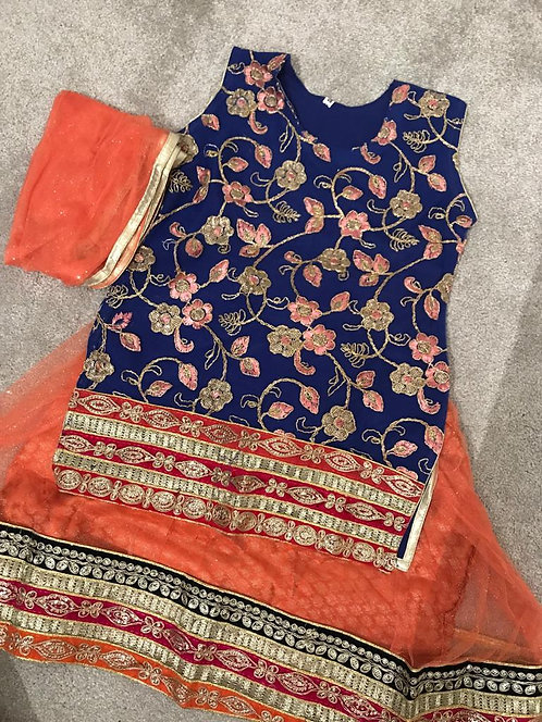 Blue and Orange lengha ( size 36)