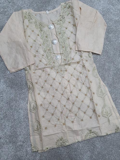 Beaded and embroidered cream kurta