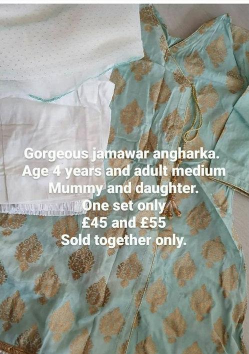 Jamawar angharkha style adult small-medium  and 4 year old