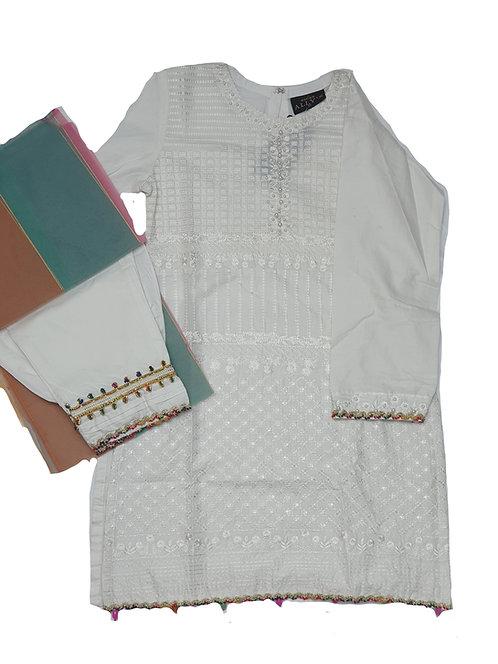 White with multi-dupatta - Mona's 3-piece