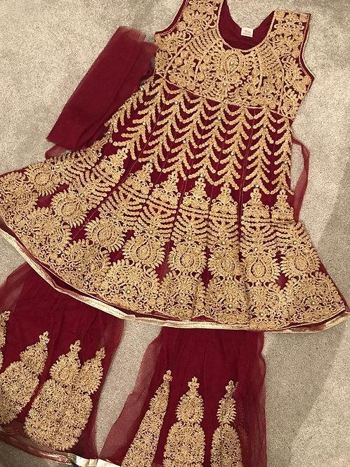 Red gharara/sharara suit (size 36)