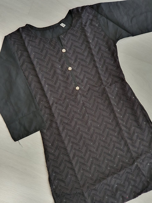 Black embroidered Kurta with sequins