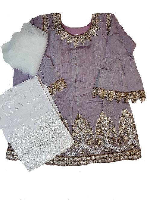 Lilac/white paper cotton 3-piece