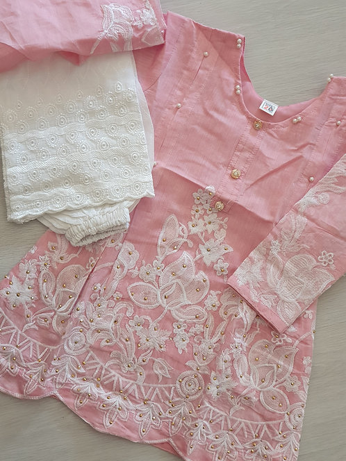 Pink and white embroidered 3-piece