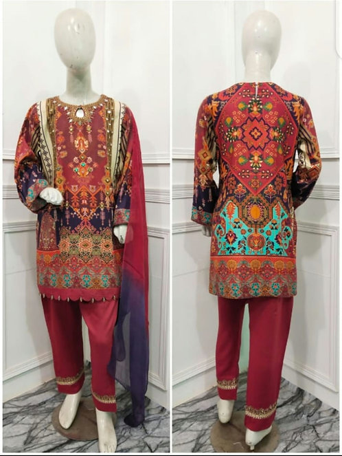 Maroon mirrored 3 piece mona by allys suit