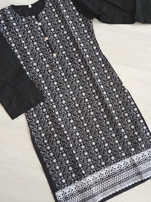 Black and white embroidered Kurta