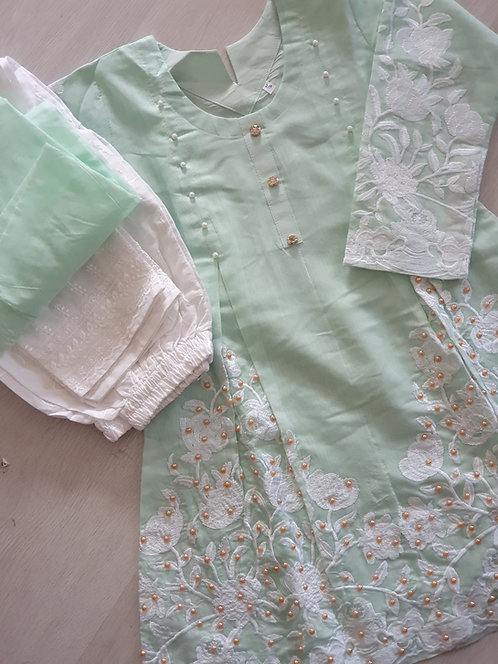 Green 3- piece embroidered