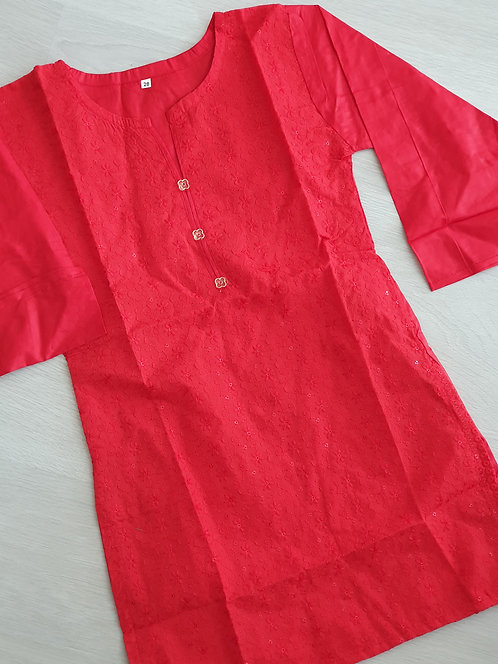 Embroidered red Kurta with sequins