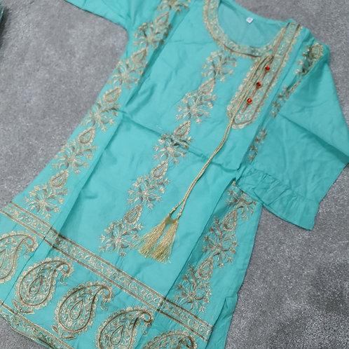 Embroidered kurta turquoise