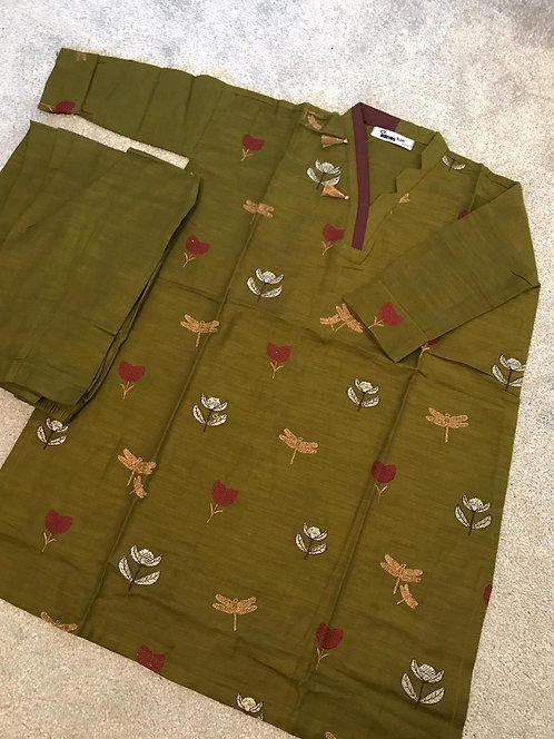 Gul Ahmed - Green Khaddar Suit