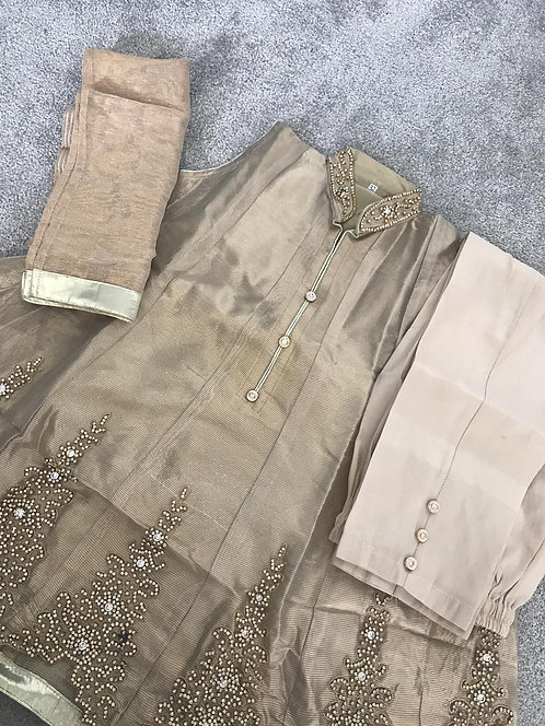 Gold trouser suit (size 32) and (size 34)