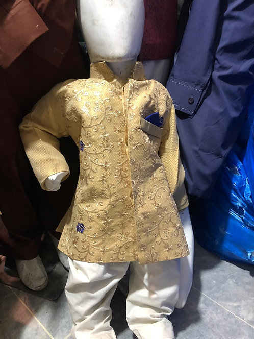 Gold embroidered sherwani with bottoms