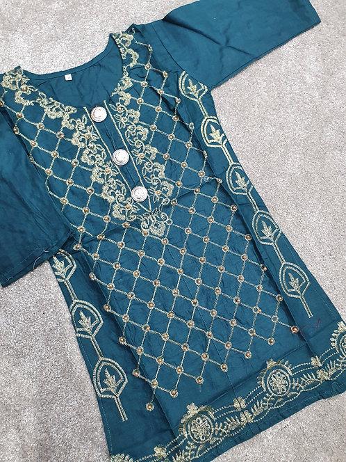 Embroidered and beaded dark green kurta