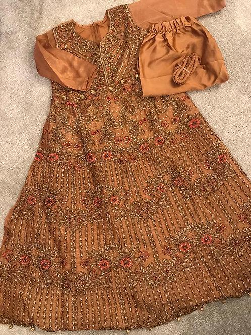Brown Anarkali style suit  3-piece ( size 34)