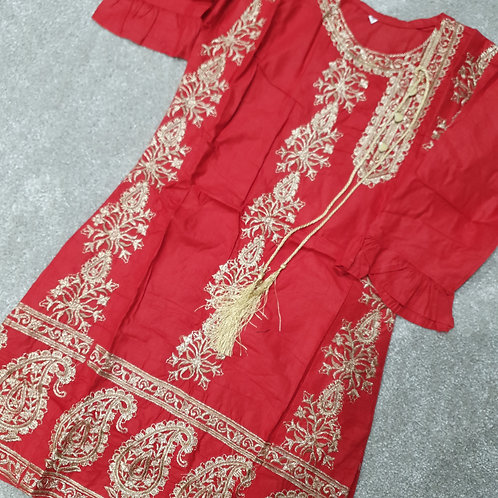 Embroidered kurta red tassles