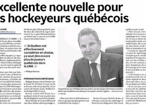 Excellente nouvelle pour les hockeyeurs québécois