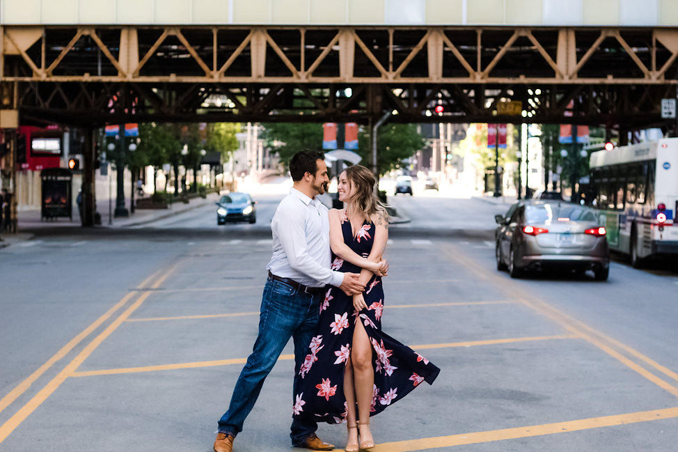 Engagement photos in downtown Chicago, IL