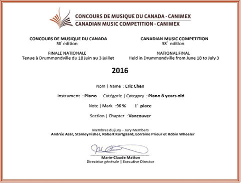 Canadian National Competition Vancouver winner Eric Chen Fedorova&Takser Piano Studio, Vancouver CMC