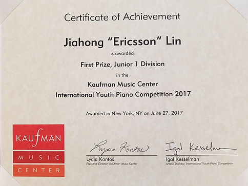 Ericsson Lin, Kaufman International Competition, first prize winner
