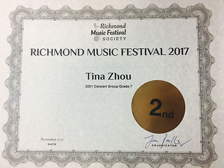 Richmond Music Festival winner BC Canada