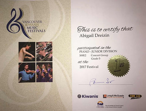 Vancoue Kiwanis Music Festival winner Abigail Dreizin Fedorova&Takser Piano Studio