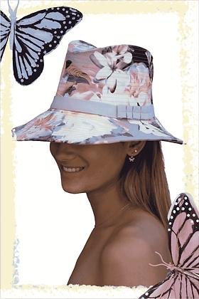 Cape bucket hat : wide brim : pink spring