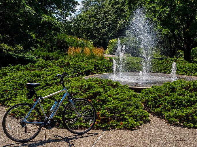 Cycle alongside Botanical Garden fountai