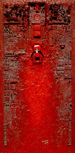 WAKE OF ASPHALT ON RED
