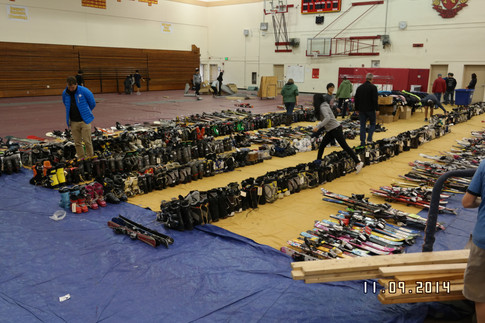 Unsold gear organized and being picked up